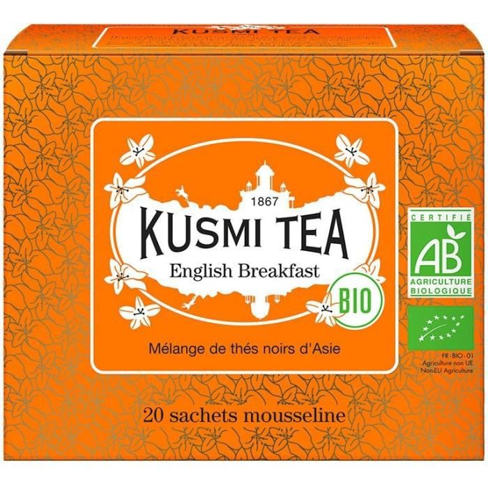 KUSMI TEA Thé noir English Breakfast - Bio - Etui 20 sachets mousseline - 40 g