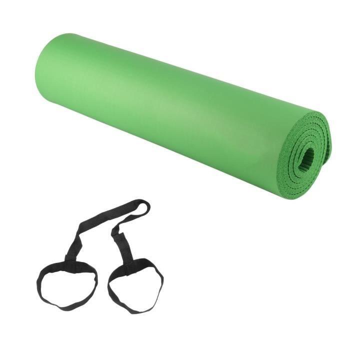 Tapis gymnastique YOGA mousse de NBR 12mm + dragonne -vert