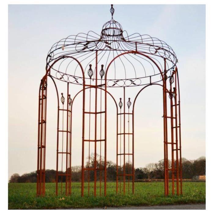 Harmonieuse Gloriette de Jardin Tonnelle Pergola Kiosque en Acier Oxydé 220x220x380cm 380