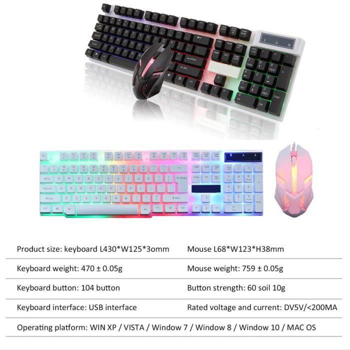 Ensemble de souris de clavier filaire RVB adapté au clavier mécanique PS4 Rainbow LED