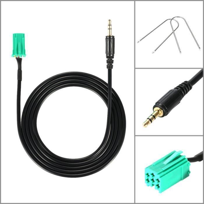 Câble D'adaptateur D'entrée Ligne 3.5mm pour iPhone iPod MP3 Outil De Suppression pour Renault 2005-2011 Clio Megane HOT