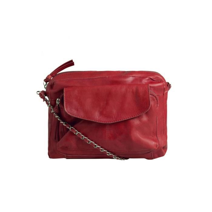 Sac bandoulière en cuir Naina Femme Rouge