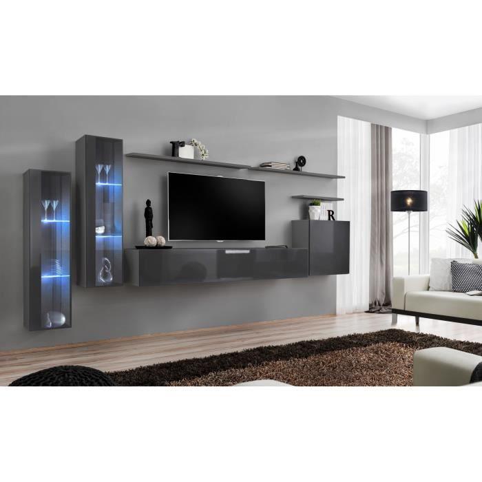Ensemble meuble salon mural SWITCH XI design, coloris gris brillant. 40 Gris