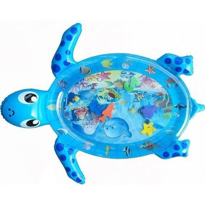 Tapis d'eau Gonflable Tortue bleue pour Bébé Tapis de Jeu Gonflé Coussin Gonflable de Rempli d'eau Amusement d'activité d'enfant Aid