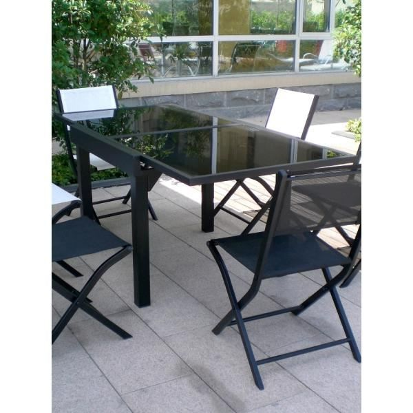 Table modulo noire 4 8 personnes achat vente table de for Table jardin 8 personnes