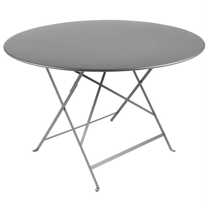 Table de jardin pliante metal ronde grise o90cm achat - Table ronde grise ...