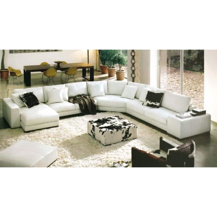 canap d 39 angle panoramique cuir blanc dreams achat vente canap sofa divan cuir bois. Black Bedroom Furniture Sets. Home Design Ideas