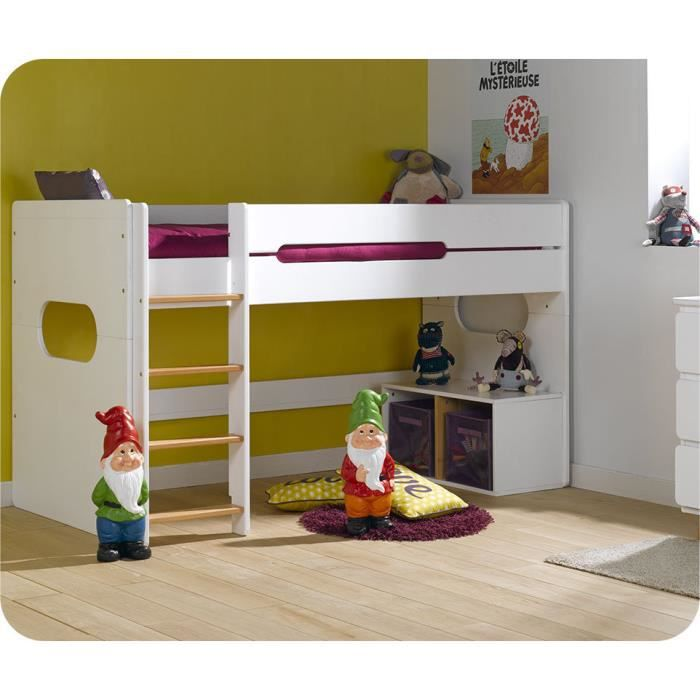 lit enfant mi hauteur spark blanc et h tre naturel achat vente lits superpos s lit enfant mi. Black Bedroom Furniture Sets. Home Design Ideas