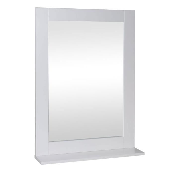 miroir salle de bain bois blanc 50 x 70 cm achat vente miroir cdiscount. Black Bedroom Furniture Sets. Home Design Ideas