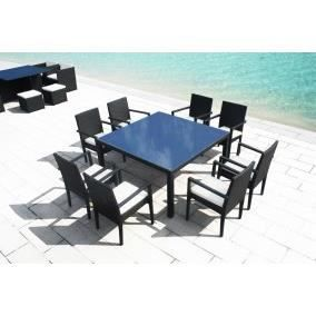 table carre resine tressee 8 personnes luxe 140cm achat. Black Bedroom Furniture Sets. Home Design Ideas