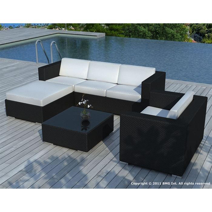 salon de jardin noire coussin blanc sd8201 achat vente salon de jardin salon de jardin. Black Bedroom Furniture Sets. Home Design Ideas