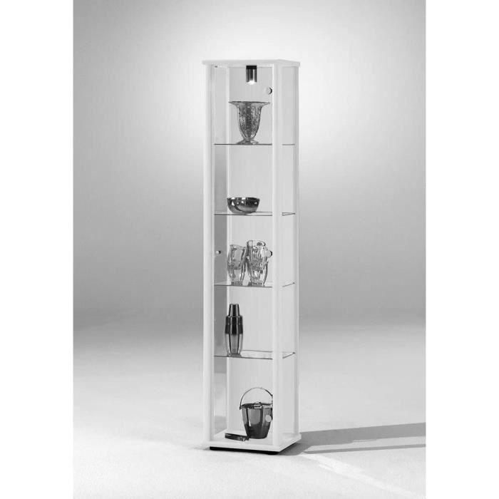 r/églable en hauteur Vitrine 172x32x33 cm collection miniature noir avec 4 /étag/ères en verre