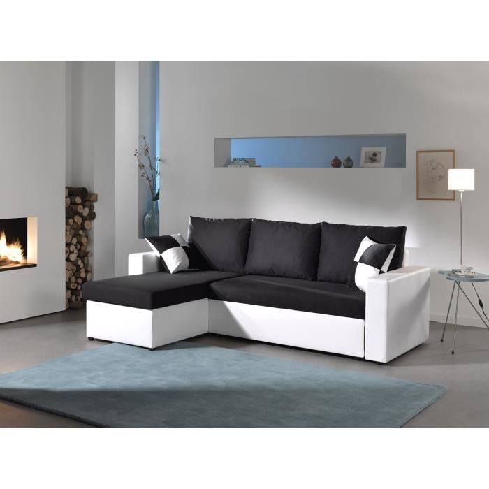 orlando canap d angle convertible couleur blanc noir achat vente canap sofa. Black Bedroom Furniture Sets. Home Design Ideas