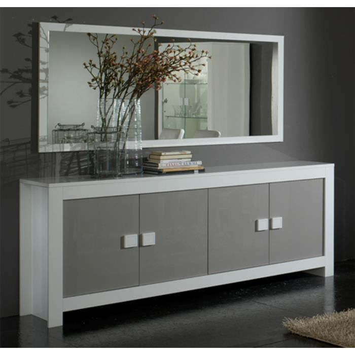 salle manger model pisa blanc gris bahut 4 portes miroir 180 cm achat vente buffet bahut. Black Bedroom Furniture Sets. Home Design Ideas