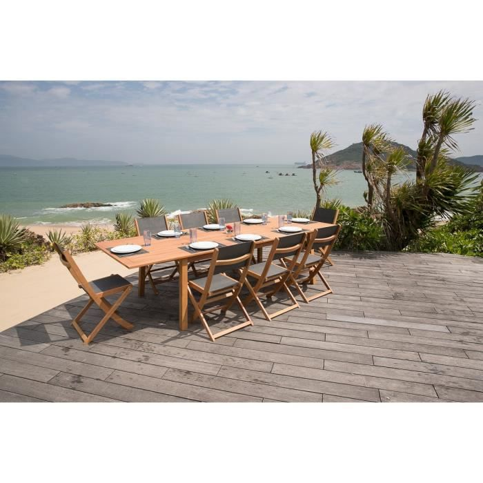Ensemble de jardin 1 table extensible 8 chaises pliantes for Ensemble table et chaise extensible