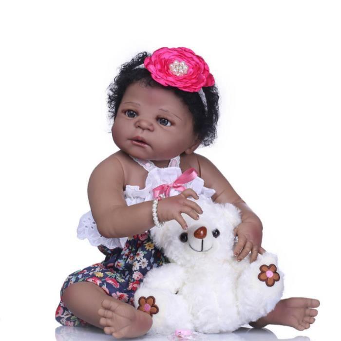 Poupées fille noire bébé noir africain mignon pull en peau noire bouclée , poupées de jeu afro