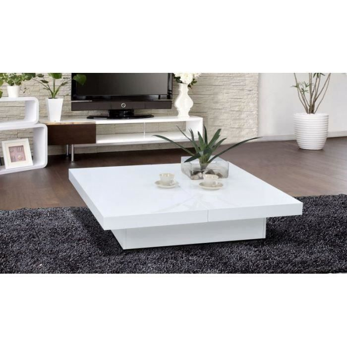 Table basse design openable carr e laqu e blanche achat for Table basse blanche design