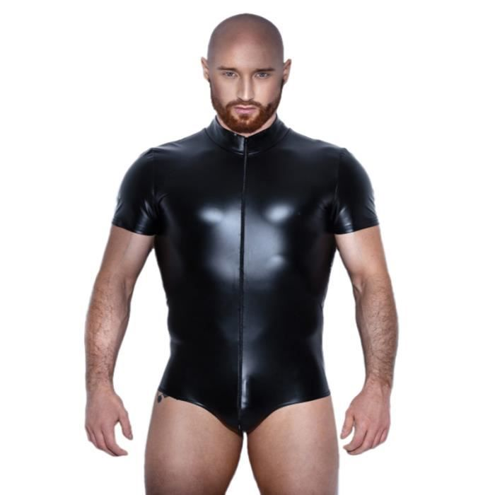 homme combinaison noir faux cuir bodysuit latex catsuit vinyl pvc grande taille noir achat. Black Bedroom Furniture Sets. Home Design Ideas
