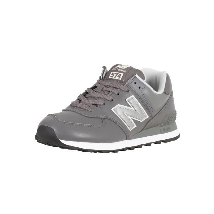 New Balance Homme 574 Baskets en cuir, Gris