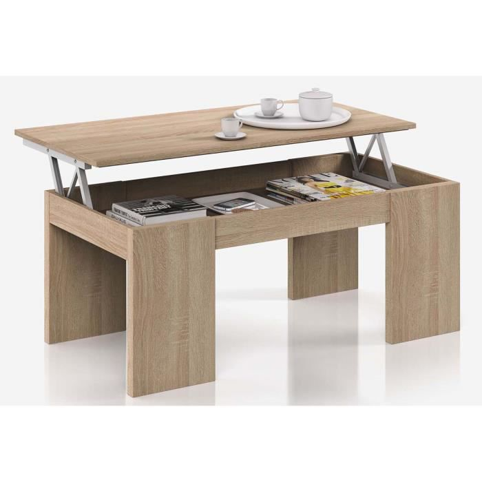 Table basse plateau relevable coloris ch ne canadien for Meuble canadien
