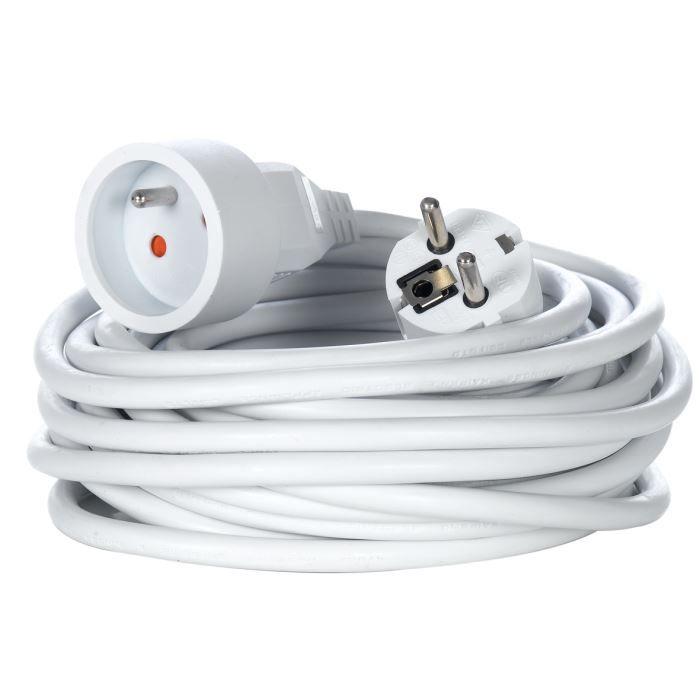 Rallonge électrique 10 mètres BLANC Blanc