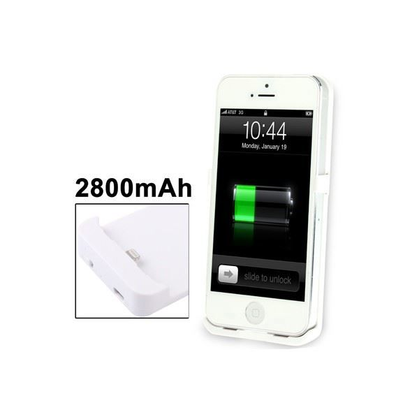 batterie coque iphone 5 chargeur 2800 mah blanc batterie. Black Bedroom Furniture Sets. Home Design Ideas