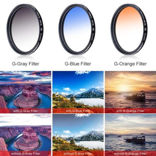 filtres CPL//ND4//ND8 Bouchon Lens Cap Chiffon+ Sac Stylo Beschoi 77 mm Filtre Couleur Gradu/é Orange//Bleu//Gris