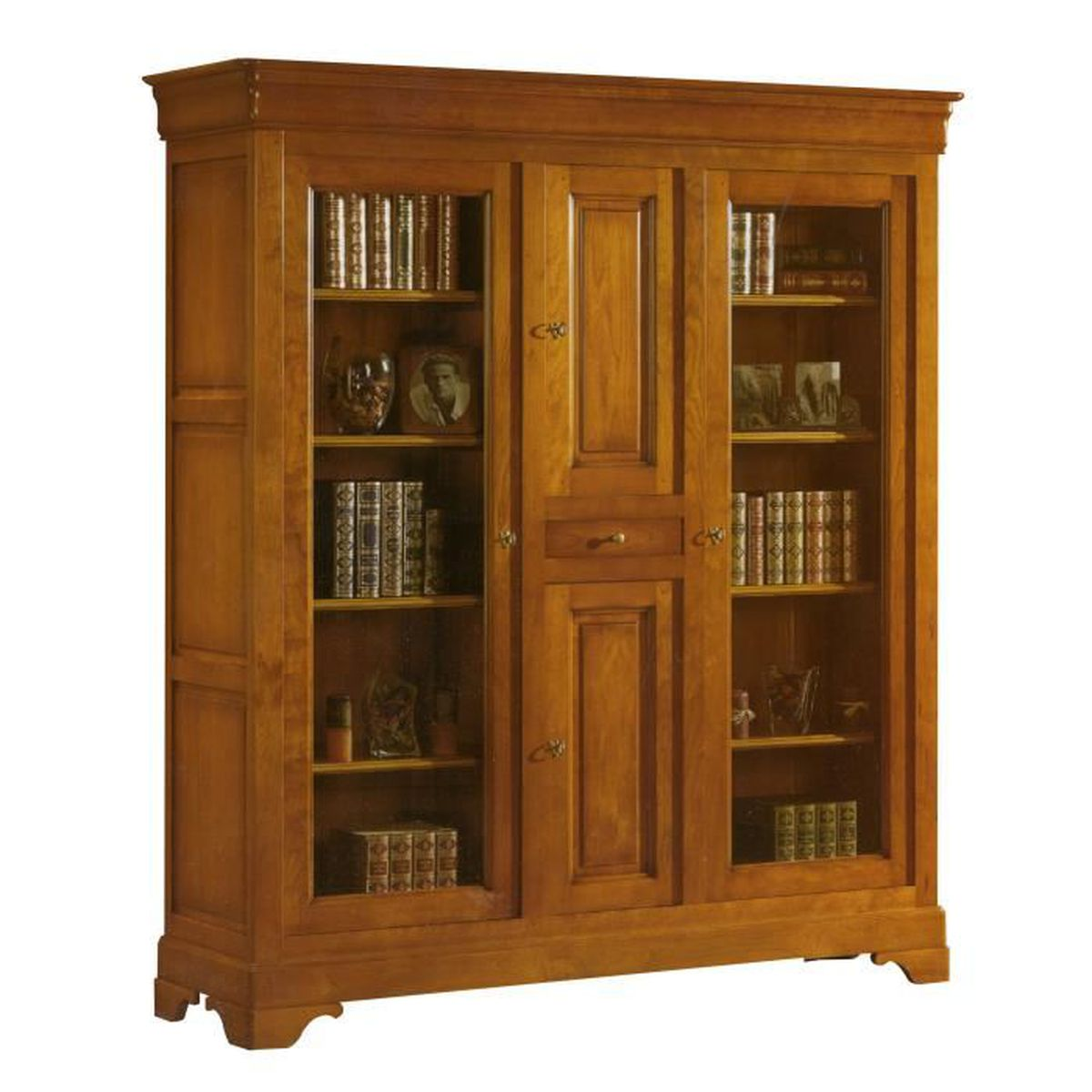 biblioth que de bureau 4 portes 1 tiroir en ch ne massif achat vente biblioth que. Black Bedroom Furniture Sets. Home Design Ideas