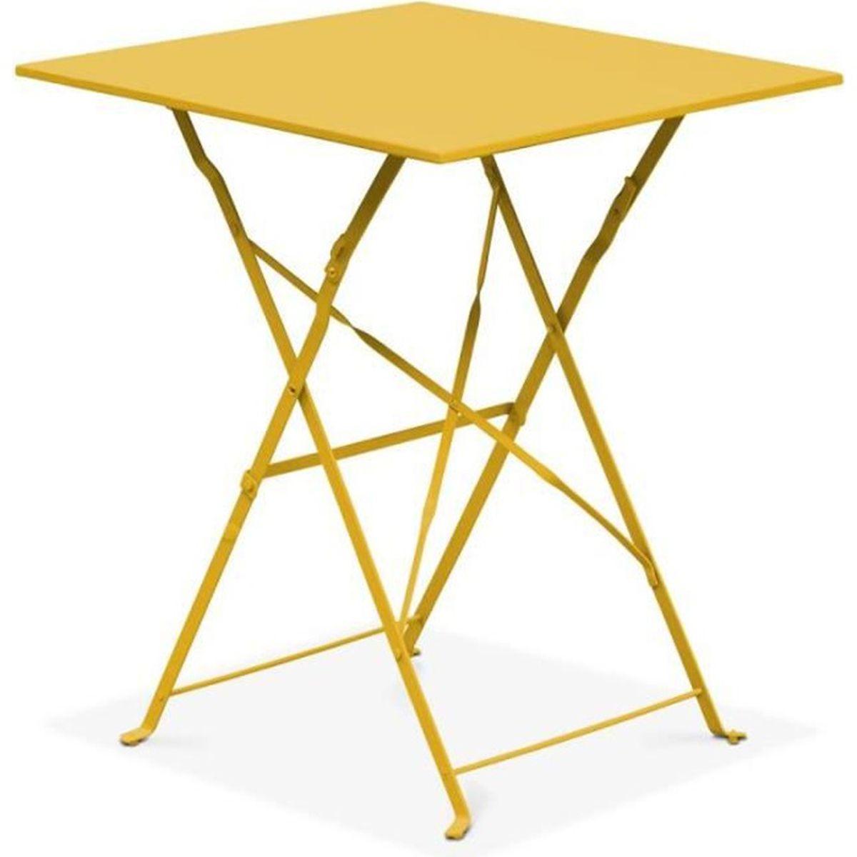 Table de jardin pliante bistrot Jaune - Achat / Vente table ...