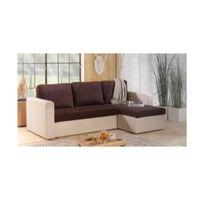 Canapé d'angle convertible JANUS 140cm bi-matière chocolat et ivoire