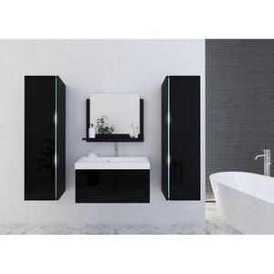 SALLE DE BAIN COMPLETE Meuble salle de bain SANDY noir laqué - Meubles sa