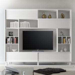 Meuble Tv Mural Blanc Laque Palazio Achat Vente Meuble