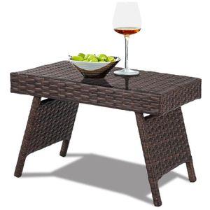 TABLE DE JARDIN  COSTWAY Table Basse Pliable de Jardin en Résine Ta