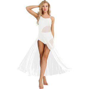 ranrann Tutu Justaucorps Danse Femme Manche Courte Jupette Danse Classique Femme Ballet Tutu Robe Danse Latine Asym/étrique 2 Pi/èces Tops Jupe Contemporain Costume XS-XL