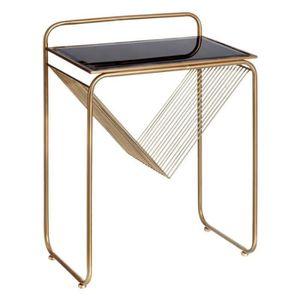 TABLE D'APPOINT Table d'appoint Verre Noir/Métal Or - GOLDY - L 48