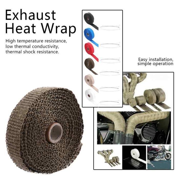 Enveloppe de chaleur d'échappement de bande d'isolation de voiture de 5 m avec 4 attaches de câble en acier inoxydable marron
