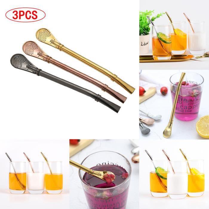 Paille à boire filtrée par thé Yerba Mate en acier inoxydable multifonction 3 pièces ZSD90320134