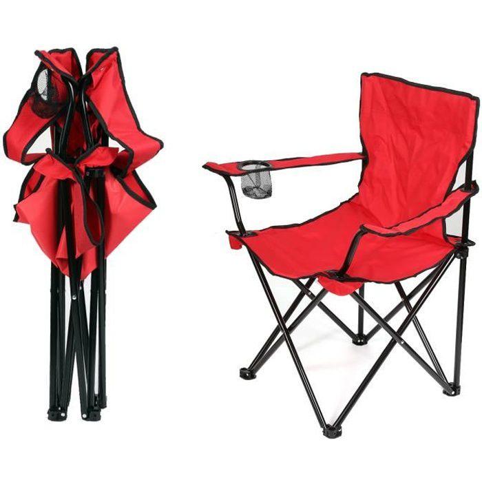 Fauteuil pliante camping 5 Positions - Aluminium et PVC Tissé - Rouge