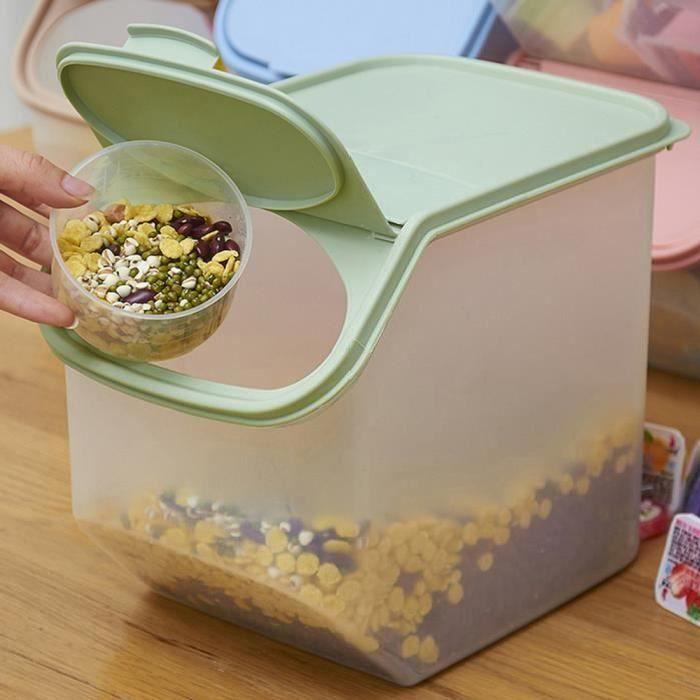 Boîte scellée en plastique étanche de rangement de riz avec la tasse de mesure - Vert