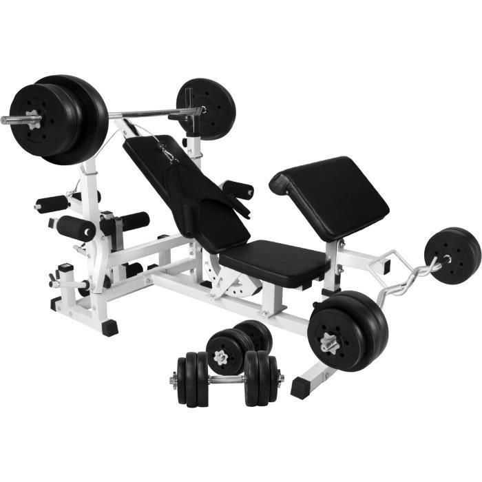 GORILLA SPORTS Banc de musculation Mixte GS005 - Set haltères disques plastique et Barres 97,5kg