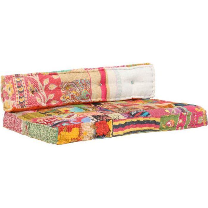 Luxueux-6785 Sofa Canapé de relaxation - Coussin de canapé palette Coussin D'extérieur Multicolore - Tissu Patchwork