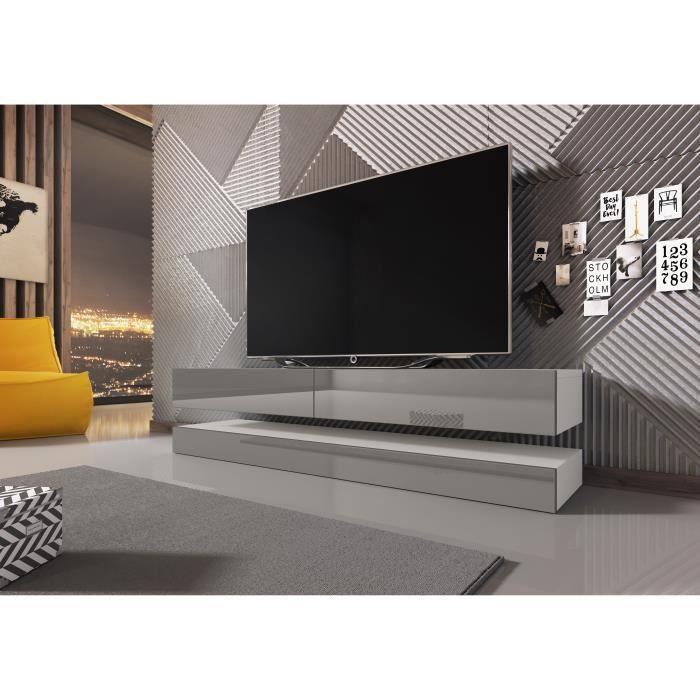 3xeLiving Meuble TV innovant et moderne Sajna 140cm blanc / gris brillant