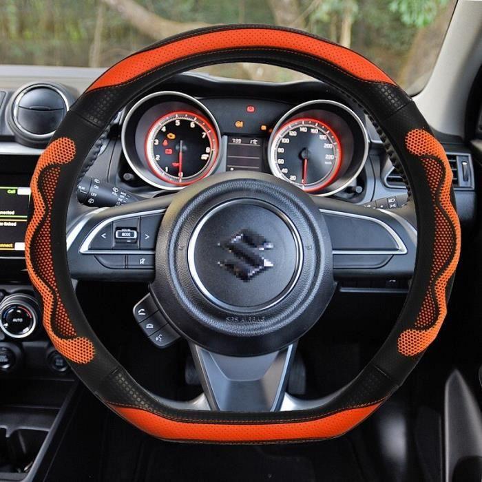 Couvre volant,Couverture de volant de voiture de luxe en cuir de haute qualité + Gel de silice antidérapant pour - Type Orange