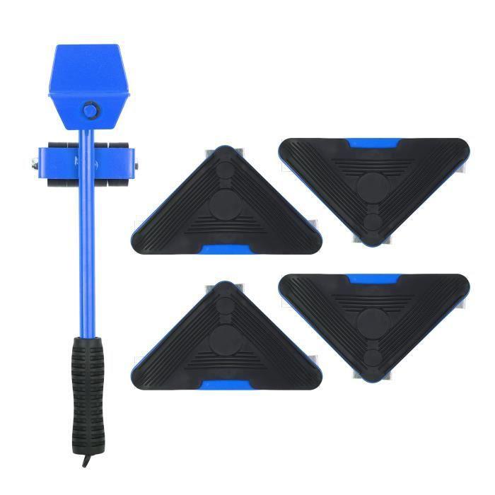 Lève-meuble robuste avec 4 curseurs pour un déplacement facile et sûr des outils de déplacement Shifter 5 Pack Object Mobile BLEU