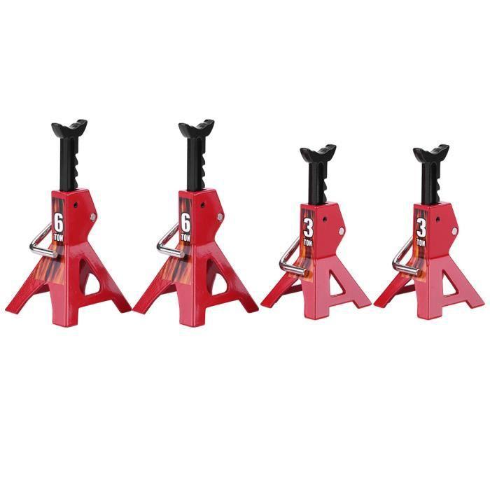 Support de cric, support de cric en métal, hauteur réglable rouge pour voiture sur chenilles RC à l'échelle 1/10 D90 Axial