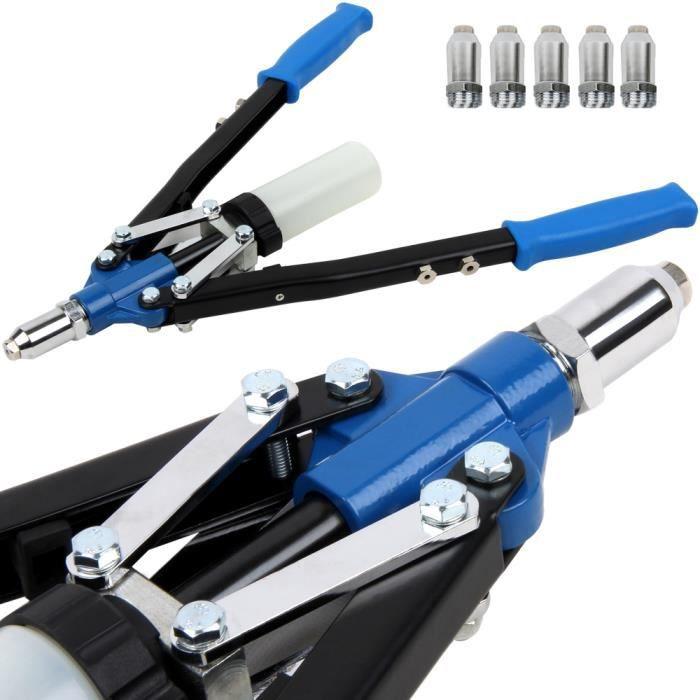Pince à riveter avec 5 rivets, clé à rivet et récipient de collecte