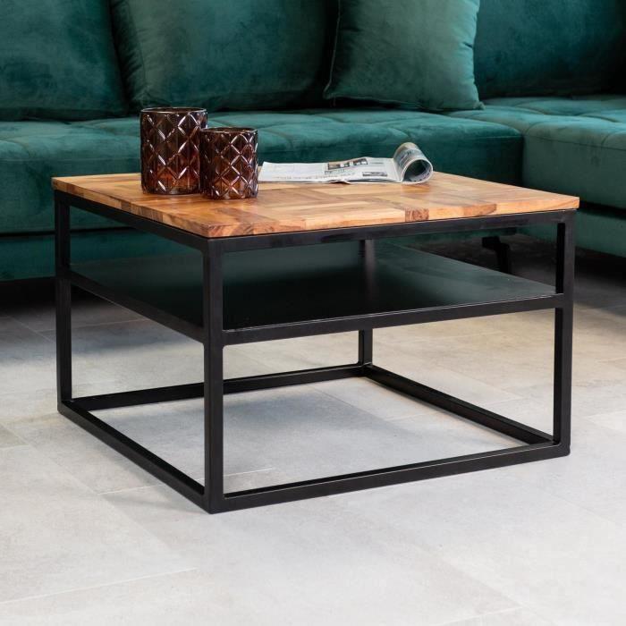 Harris Table Basse Industrielle 160x60 cm Bois Massif