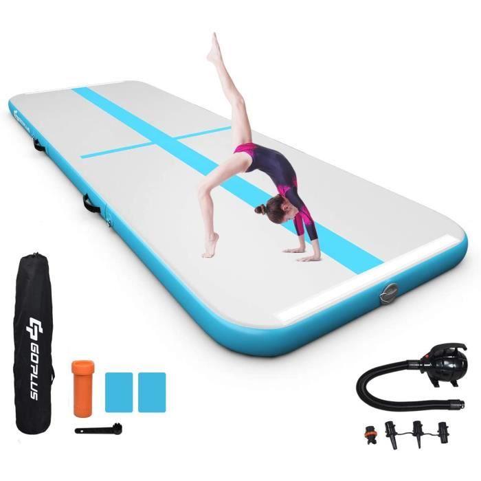 GOPLUS Tapis de Gymnastique Gonflable Imperméable avec Pompe à Air Électrique,Tapis de Piste d'Air de 10CM de Haut Épaisseur Pliable