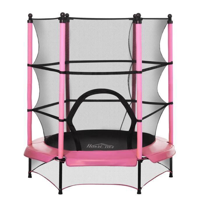 Trampoline de jardin enfants Ø 1,40 × 1,62H m filet de sécurité porte zipée couvre-ressorts + 6 poteaux rembourrés inclus rose