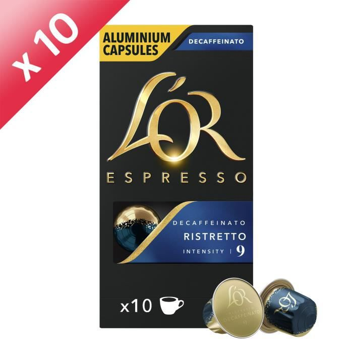L'Or Espresso Café - 100 Capsules Ristretto Decaffeinato Intensité 9 - Compatibles Nespresso® - Lot de 10 x 10